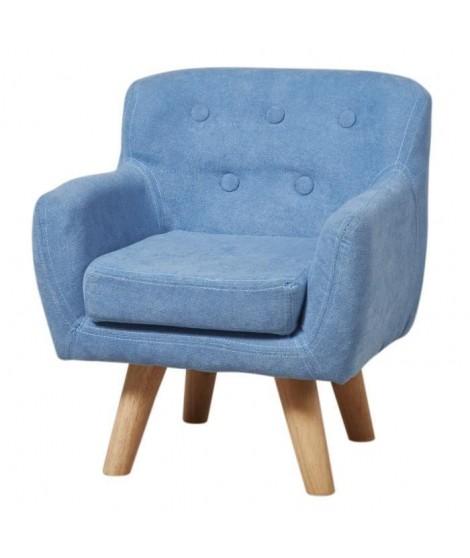 CHARLOTTE Fauteuil enfant pieds bois chene - Tissu - Bleu - Scandinave - L 42 x P 39 cm