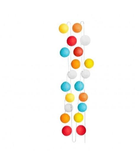 SEMA Guirlande Electrique Boules - Tissu Multicolore - x20