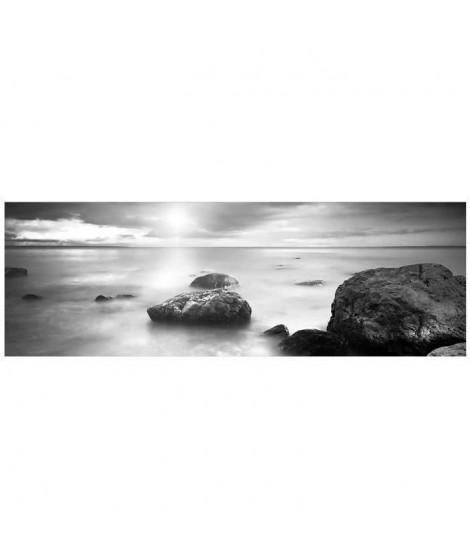 Tableau déco BCN 30x90 - Rocher plage noir et blanc