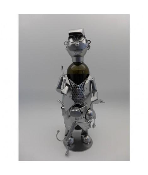 Porte bouteille Décoration Chasseur avec canard 17x16x27cm - Métal