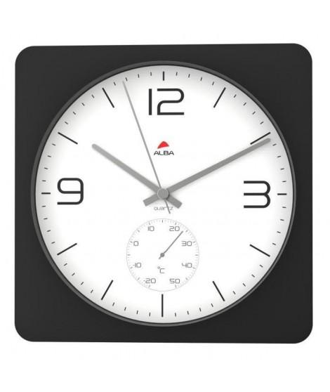 ALBA Horloge murale carrée 30cm fonction thermometre - Contour Noir / Fond Blanc 30,7x30,4x4,8cm