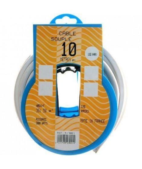 PROFIPLAST Couronne de câble 10 m HO5VVF 3G 1,5 mm2 Blanc