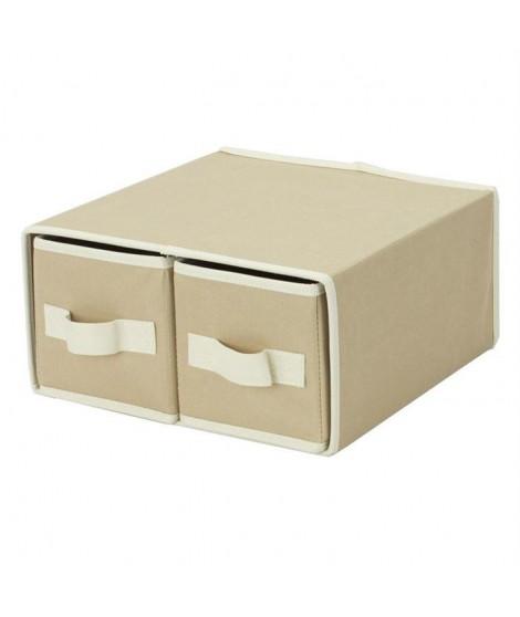 BAGGY Lot de 2 tiroirs renfort carton 43x29 cm beige