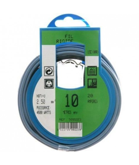 PROFIPLAST Couronne de câble 10 m HO7V-U 2,5 mm2 Bleu