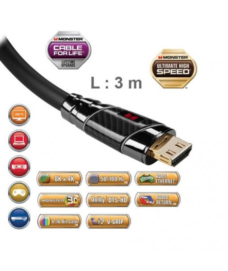 Câble HDMI Monster Black Platinium 3 m