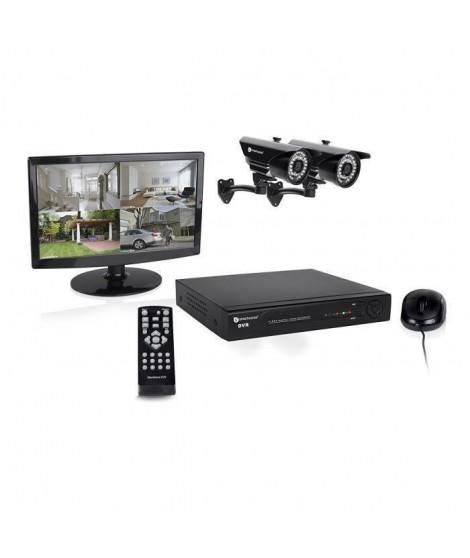 """SMARTWARES Kit de surveillance HD DVR728S avec enregistreur 1Tb 8 canaux - 2 caméras bullet HD 720P et 1 écran 15,4"""" pouces"""