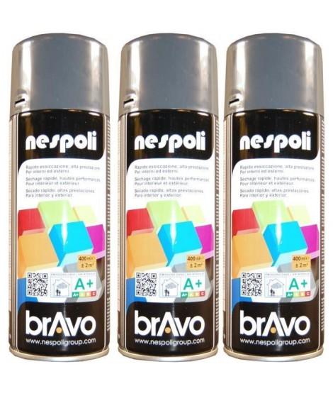 NESPOLI Lot de 3 aérosols peinture professionnelle gris anthracite