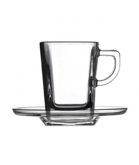 PASABAHCE Lot de 6 tasses  en verre trempé Expresso - 7 cl - Carré