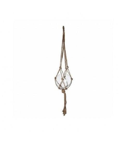 Carice vase suspendu en verre - Transparent avec corde - H140xD25cm
