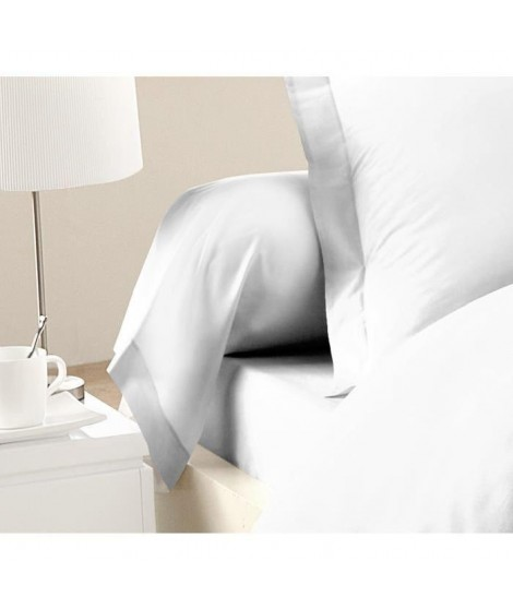 LOVELY HOME Lot de 2 Taies de Traversin 100% coton 85x185 cm blanc