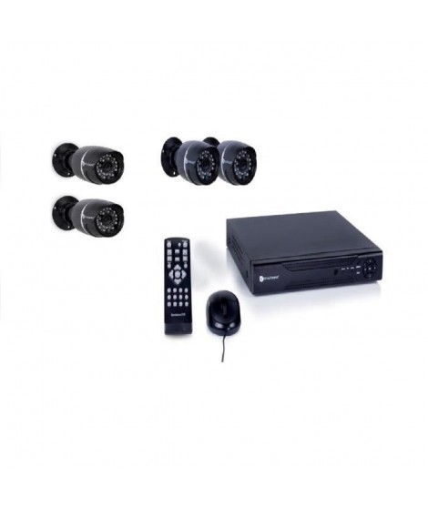 SMARTWARES Kit de surveillance filaire DVR524S avec enregistreur 4 canaux 500 Gb de stockage et 4 caméras bullet DVR528S