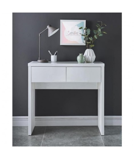 WHITNEY Console style contemporain laquée blanc brillant - L 80 cm