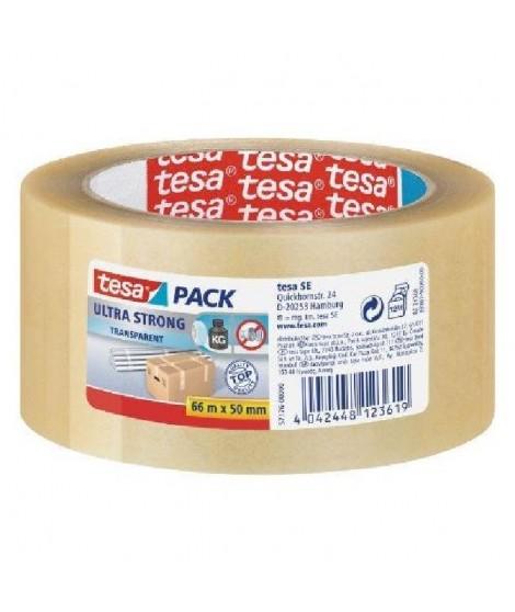 TESA Ruban PVC Ultra Strong  - 66m x 50mm - Lot de 6 - Transparent