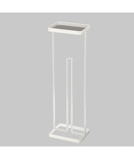 GERSON Porte rouleau papier avec plateau - 16x12x54 cm - Métal blanc