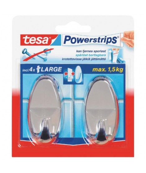 TESA 2 Crochets ovales + 4 Powerstrips - Chrome