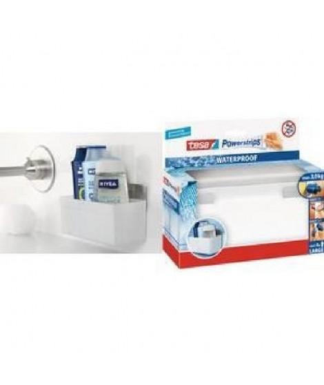 TESA Panier porte accessoires salle de bain - Plastique - Support métal + 4 crochets Powerstrips waterproof