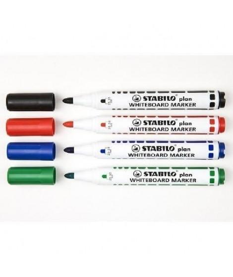 STABILO plan - Pochette de 4 marqueurs  - noir + bleu + rouge + vert