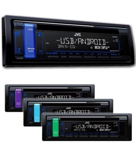 JVC Autoradio CD / USB / AUX - 4x50 Watts - Afficheur sur 2 lignes - Android Playback - Design FLAT - Noir & Bleu
