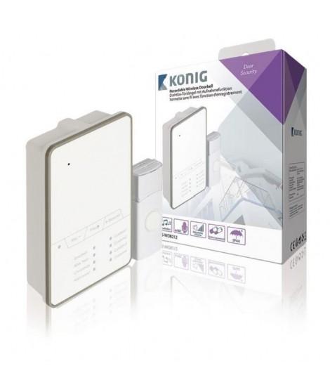 KONIG Sonnette sans fil avec batterie 80 dB blanc et gris