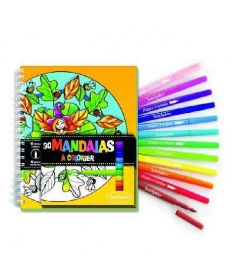 SENTOSPHERE Carnet De Coloriage + Feutres - Mandalas
