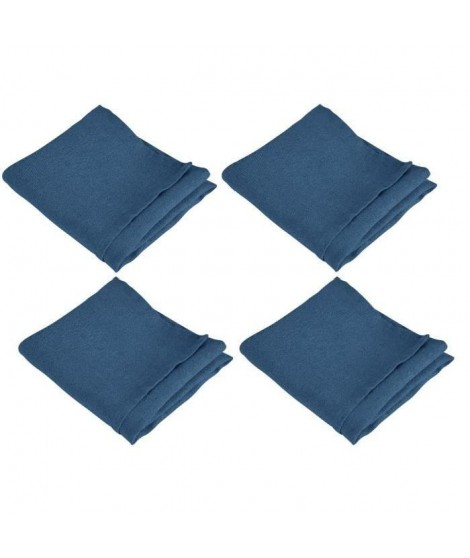 VENT DU SUD Lot de 4 serviettes de table SYMPHONIE 100% lin 50x50 cm indigo