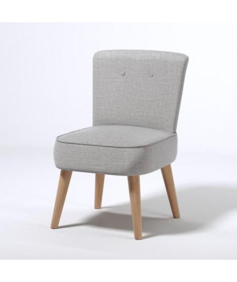 MONA Fauteuil scandinave en polyester effet lin gris