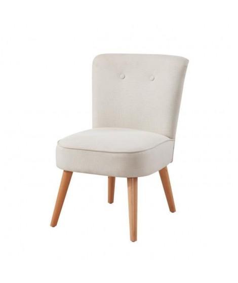 MONA Fauteuil scandinave en polyester effet lin ivoire