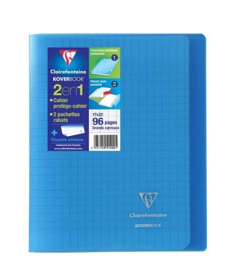 CLAIREFONTAINE  Cahier Kover Book piqure avec rabats 170 x 220 - 96 Pages - 90 g - Bleu