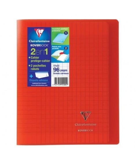 CLAIREFONTAINE Cahier Kover Book piqure avec rabats 170 x 220 - 96 Pages - 90 g - Rouge