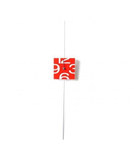 CLOCK Horloge Pendule carrée - 12x66cm - Rouge