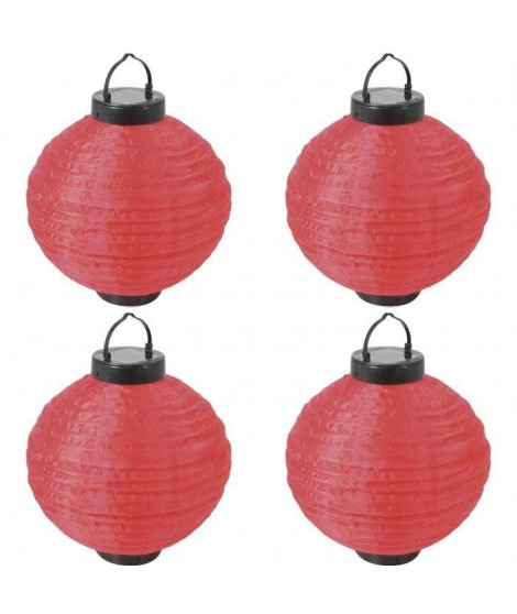 Lot de 4 Lampions solaires rouges