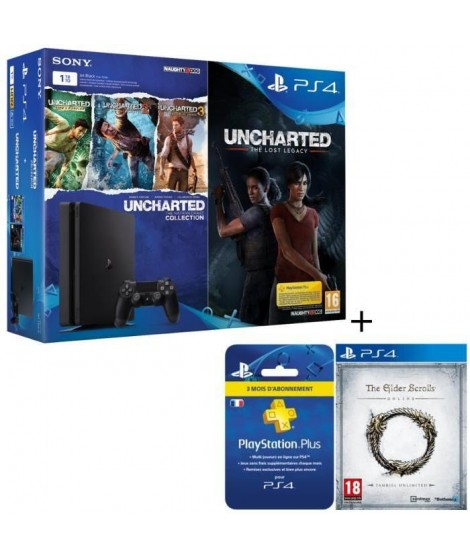 Nouvelle PS4 1 To + 5 jeux : Uncharted The Lost Legacy + Uncharted Collection (3 jeux en 1) + The Elder Scrolls + Abonnement …