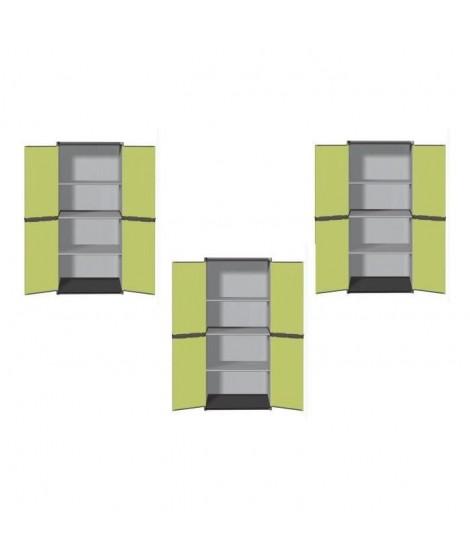 SOGENEX Lot de 3 armoires hautes de rangement 3  tablettes en résine