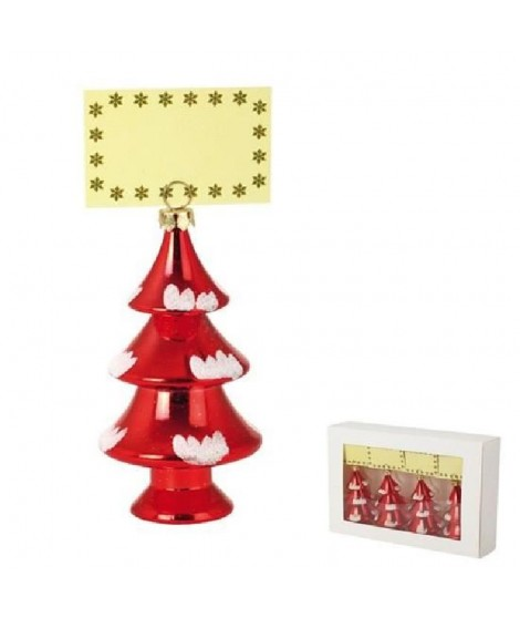 Lot de 4 porte-nom Sapins - Rouge