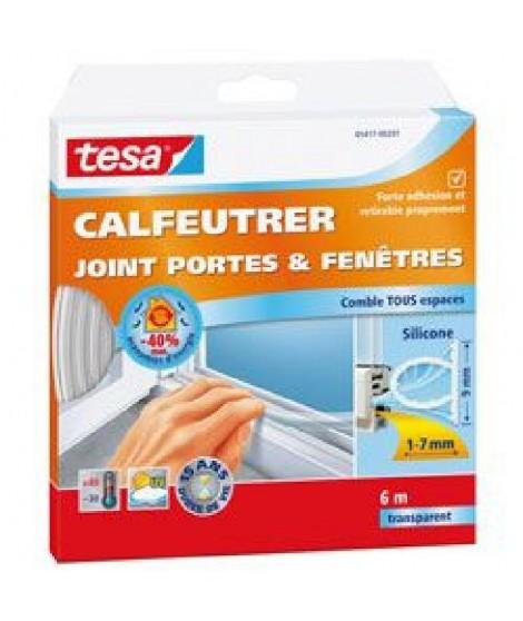 TESA Joint portes et fenetres - Silicone - 6 m x 9 mm x 7 mm - Transparent
