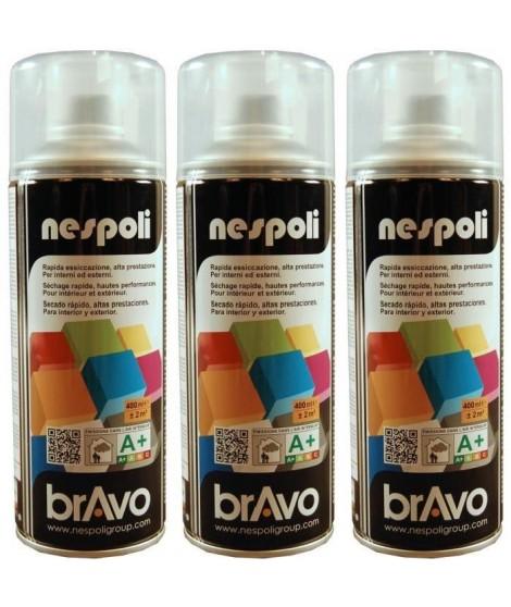 NESPOLI Lot de 3 aérosols peinture professionnelle effet satiné vernis incolore