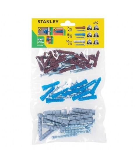 STANLEY Sachet souple transparent de 40 Chevilles en nylon ø 7, 8 et 10 mm avec vis a tete fraisée STF27040-XJ