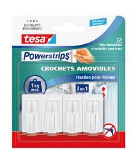 TESA 4 fixations pour rideaux + 6 Mini Powerstrips