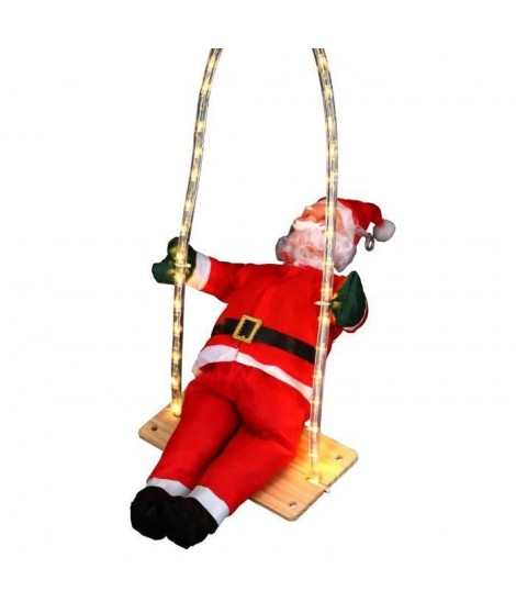 Pere Noël grimpeur sur balançoire lumineuse 36 LED hauteur 60 cm rouge, blanc et noir