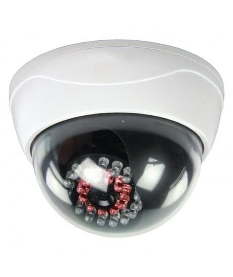 KONIG Caméra de surveillance dôme factice IP44 blanc