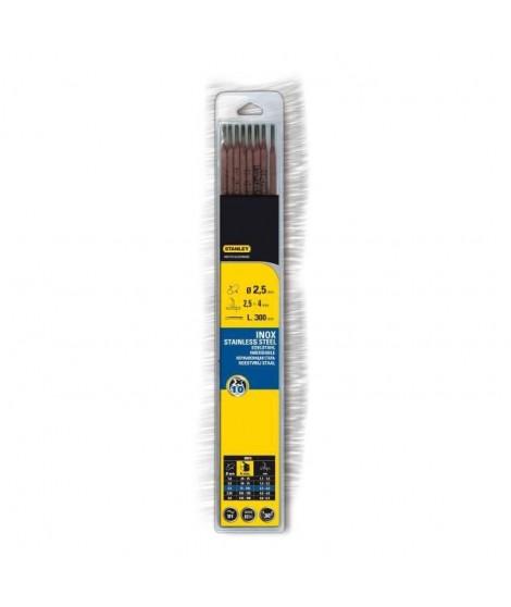 STANLEY 460726  Lot de 10 électrodes inox - Ø 2,5 mm - L 300 mm - Baguettes de soudure