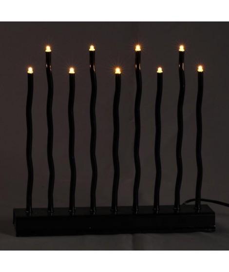 Candelabre - 14 x 30 cm - Noir - 11 LED BC - 4,5V
