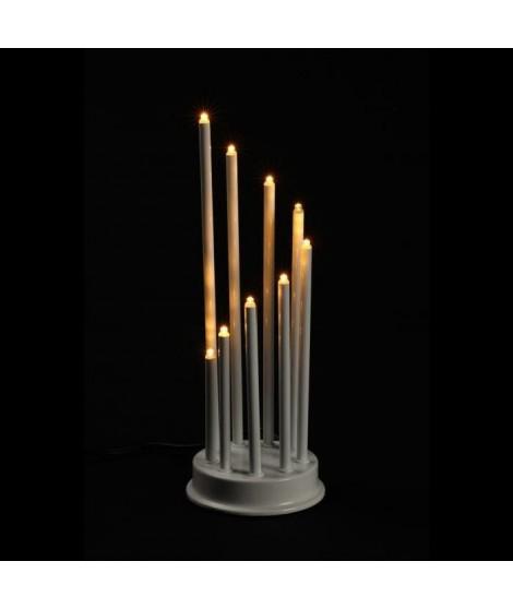 Candelabre - 14 x 30 cm - Blanc - 9 LED BC - 4,5V