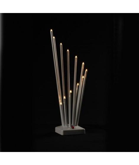 Candelabre - 14 x 30 cm - Blanc - 11 LED BC - 4,5V