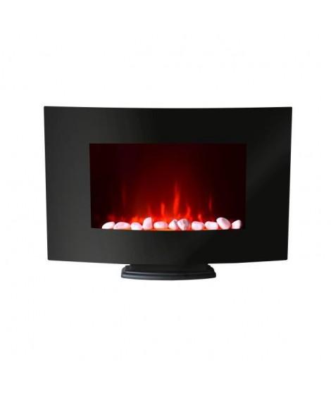 CARRERA Luna 2000 watts Cheminée décorative et chauffant électrique - Motifs galets - Façade galbée - 2 puissances