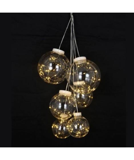 Grappe de 6 Boules avec 80 mini LED - PVC & cuivre