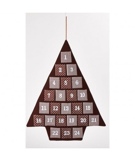 CHRISTMAS DREAM Calendrier de l'avent 68,5x74cm Vichy marron