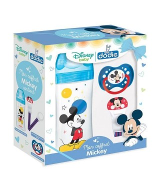 DODIE Coffret Mickey (1 biberon Initiation+ 330ml bleu Mickey, 1 sucette anatomique +18M Mickey, 1 attache sucette Mickey)