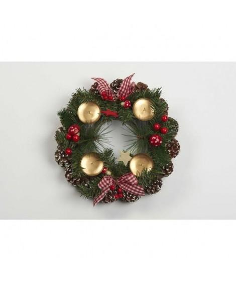 CHRISTMAS DREAM Couronne de Noël déco et porte-bougies diametre 30 cm vert, rouge et doré