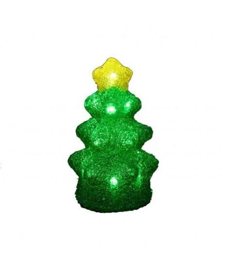 Sapin acrylique - 16 LED blanc froid - Vert et jaune